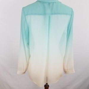 Divided Tops - Divided H&M Blouse Button Long Sleeve Teal White